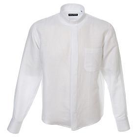 Camicia clergy lino e cotone bianco Manica Lunga s1