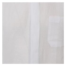 Camicia clergy lino e cotone bianco Manica Lunga s2