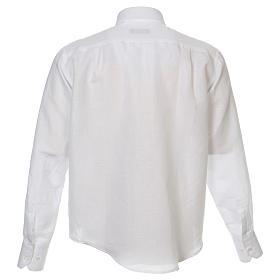 Camicia clergy lino e cotone bianco Manica Lunga s3