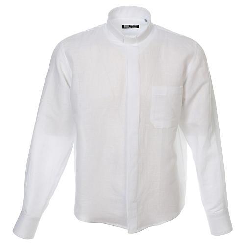 Camicia clergy lino e cotone bianco Manica Lunga 1