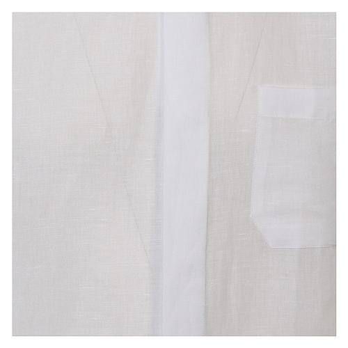 Camicia clergy lino e cotone bianco Manica Lunga 2