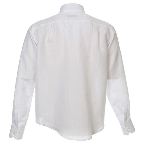 Camicia clergy lino e cotone bianco Manica Lunga 3