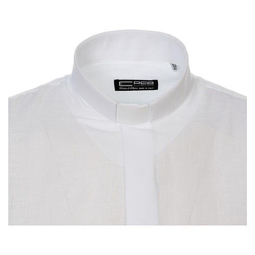 Camicia clergy lino e cotone bianco Manica Lunga 5