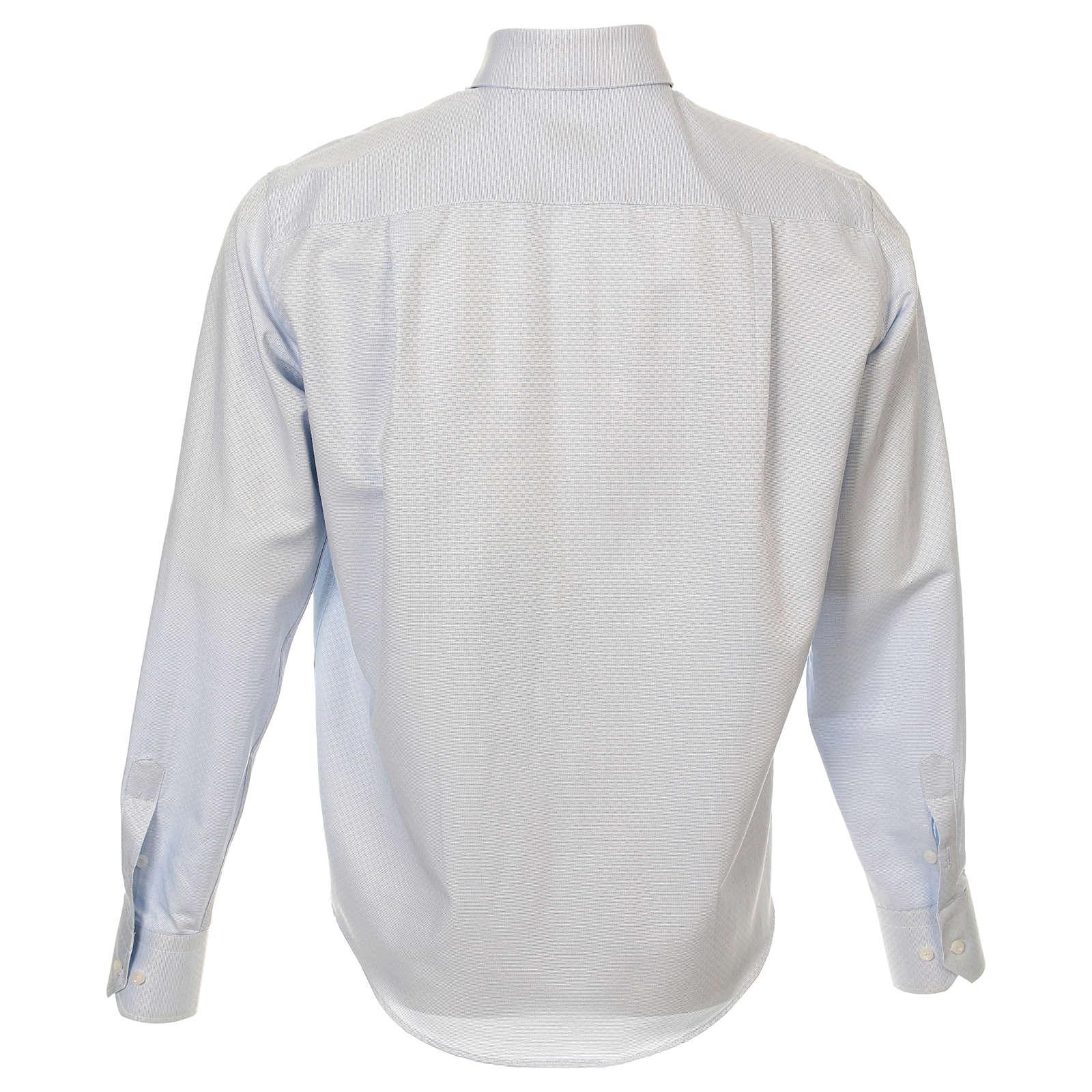 Camicia clergy cotone Marangel celeste Manica Lunga 4