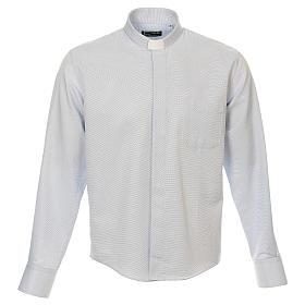 Camicia clergy cotone Marangel celeste Manica Lunga s1