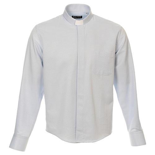 Camicia clergy cotone Marangel celeste Manica Lunga 1