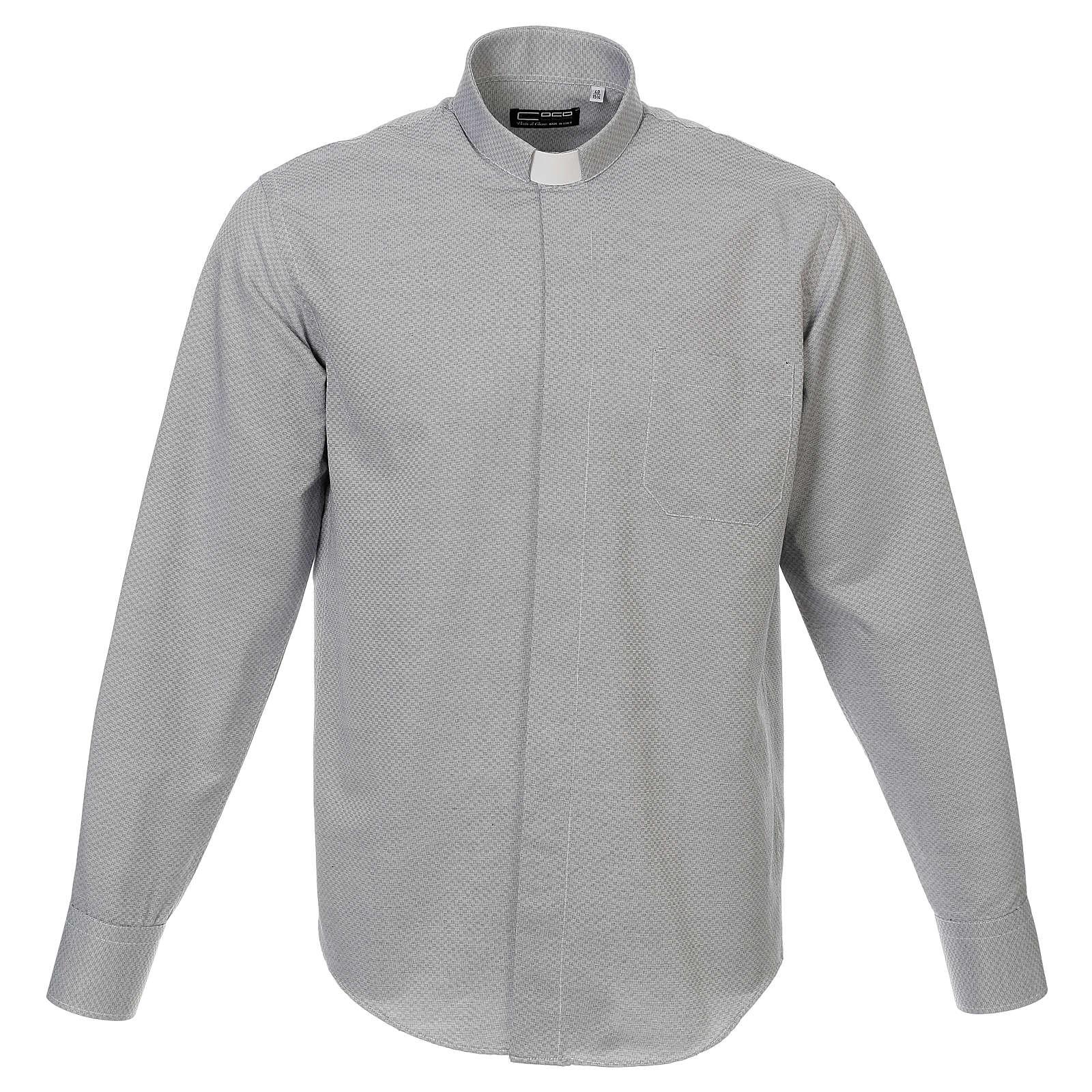 Collarhemd, Schachbrettmusterung, Baumwoll-Polyester-Mischgewebe, Farbe grau, Langarm 4