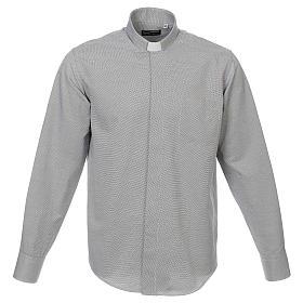 Collarhemd, Schachbrettmusterung, Baumwoll-Polyester-Mischgewebe, Farbe grau, Langarm s1