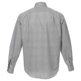 Collarhemd, Schachbrettmusterung, Baumwoll-Polyester-Mischgewebe, Farbe grau, Langarm s3