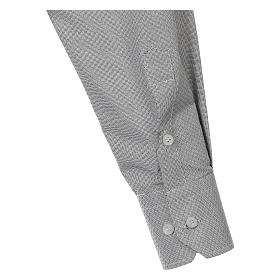 Collarhemd, Schachbrettmusterung, Baumwoll-Polyester-Mischgewebe, Farbe grau, Langarm s4