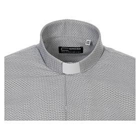 Collarhemd, Schachbrettmusterung, Baumwoll-Polyester-Mischgewebe, Farbe grau, Langarm s5