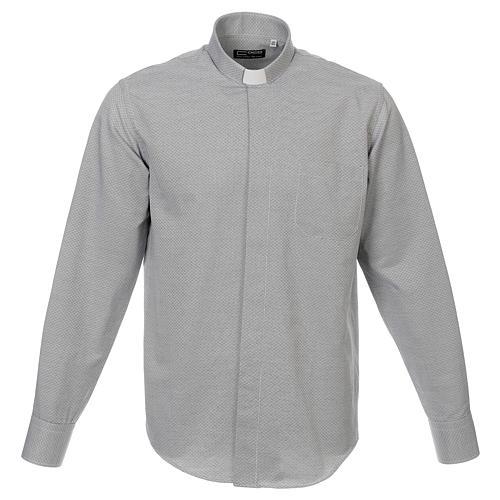 Collarhemd, Schachbrettmusterung, Baumwoll-Polyester-Mischgewebe, Farbe grau, Langarm 1