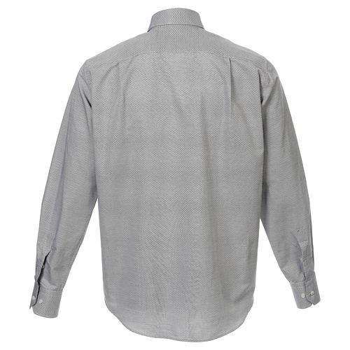 Collarhemd, Schachbrettmusterung, Baumwoll-Polyester-Mischgewebe, Farbe grau, Langarm 3