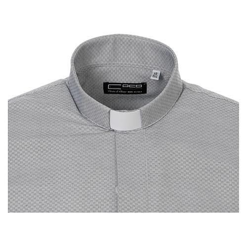 Collarhemd, Schachbrettmusterung, Baumwoll-Polyester-Mischgewebe, Farbe grau, Langarm 5