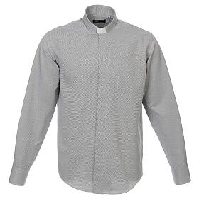 Camisa clergy algodón Marangel gris M. Larga s1