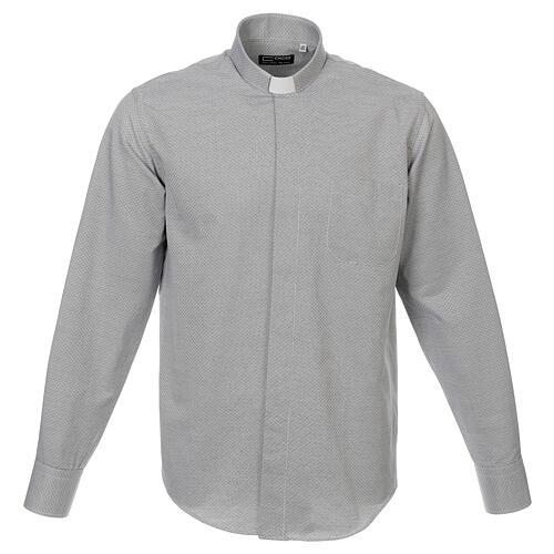 Camisa clergy algodón Marangel gris M. Larga 1