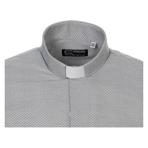 Camisa clergy algodón Marangel gris M. Larga 5
