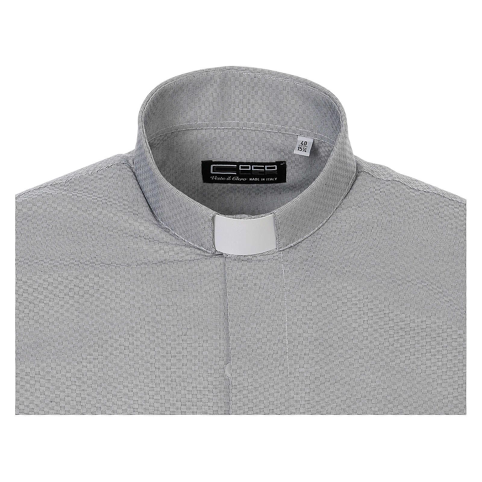 Chemise clergy coton Marangel gris Manches Longues 4