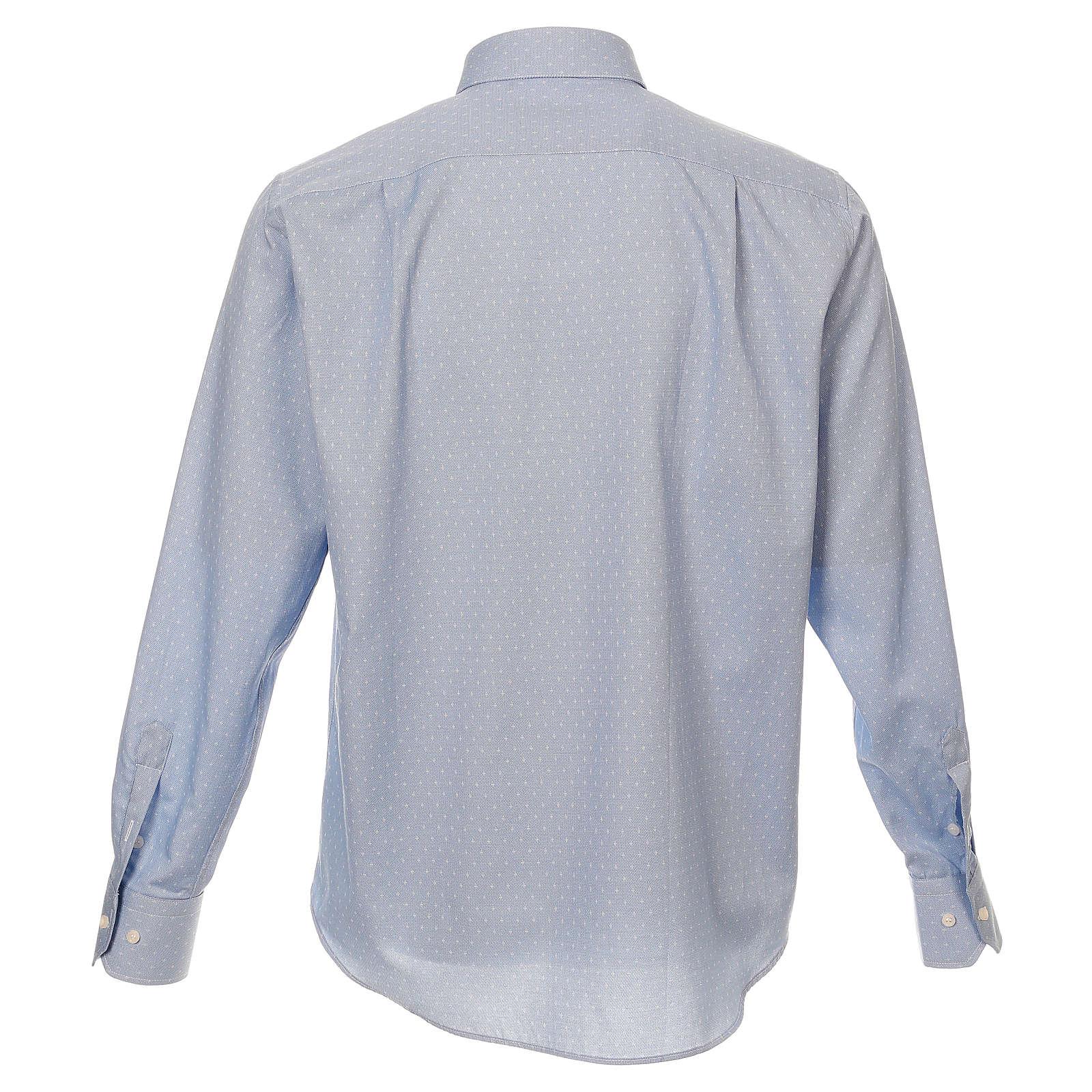 Camicia clergy tessuto croci celeste M. Lunga 4