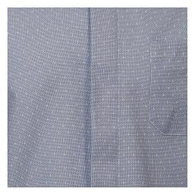 Camicia clergy tessuto croci celeste M. Lunga s2
