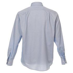 Camicia clergy tessuto croci celeste M. Lunga s3