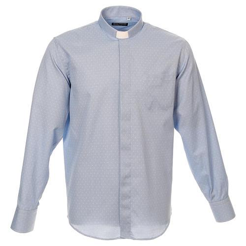 Camicia clergy tessuto croci celeste M. Lunga 1
