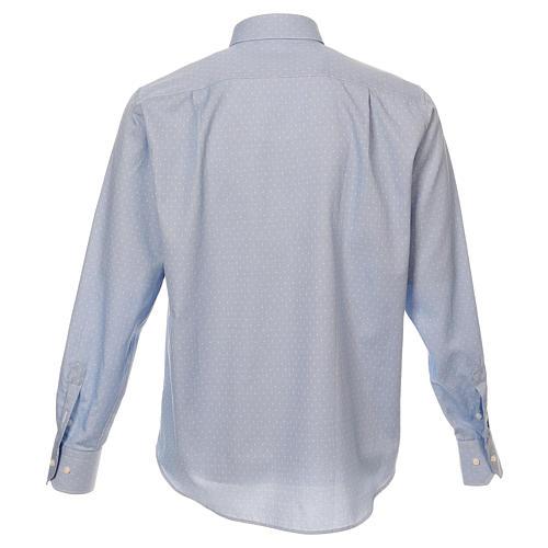 Camicia clergy tessuto croci celeste M. Lunga 3