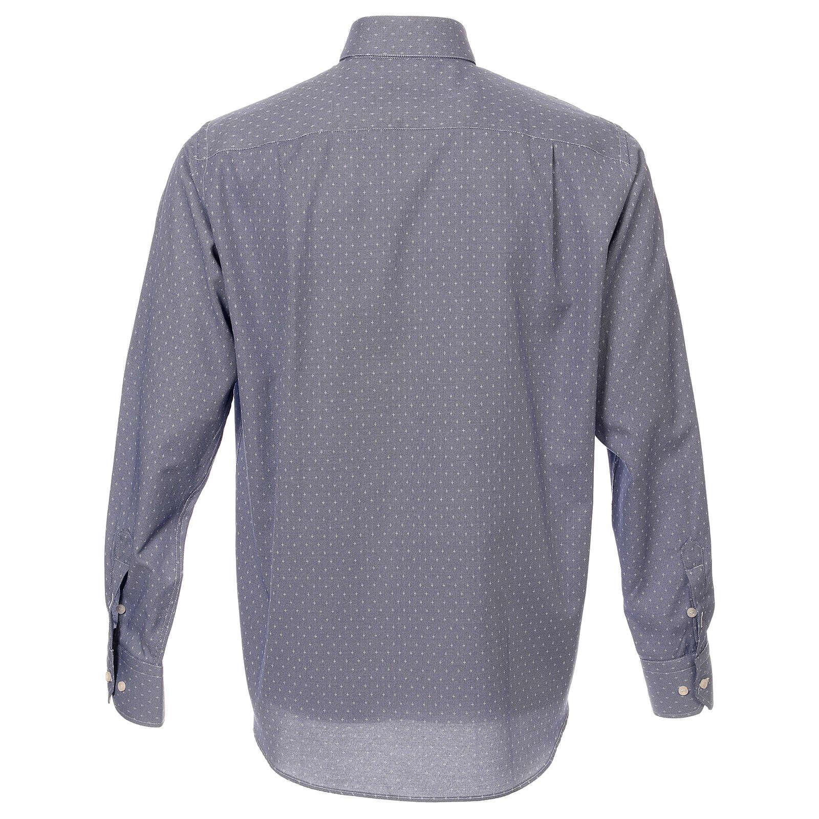 Camisa cuello clergy tejido cruces azul M. Larga 4