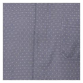 Camisa cuello clergy tejido cruces azul M. Larga s2