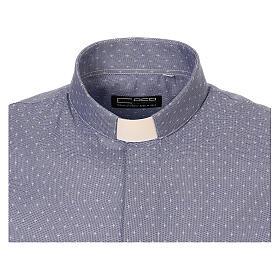 Camisa cuello clergy tejido cruces azul M. Larga s5