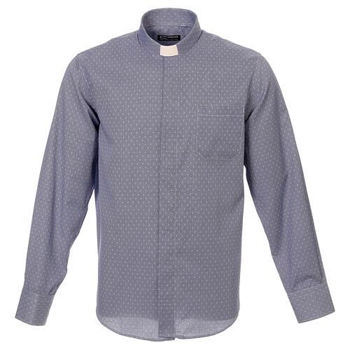 Camisa cuello clergy tejido cruces azul M. Larga 1