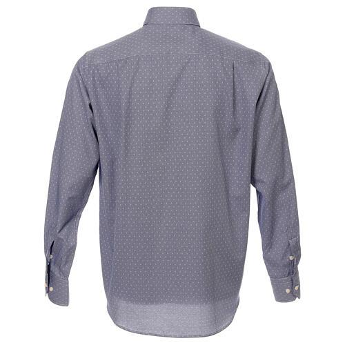 Camisa cuello clergy tejido cruces azul M. Larga 3