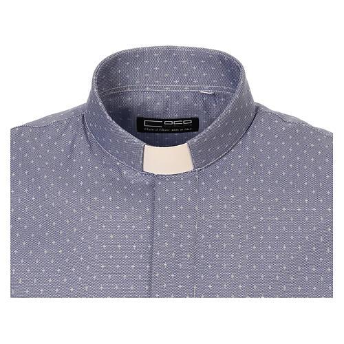 Camisa cuello clergy tejido cruces azul M. Larga 5