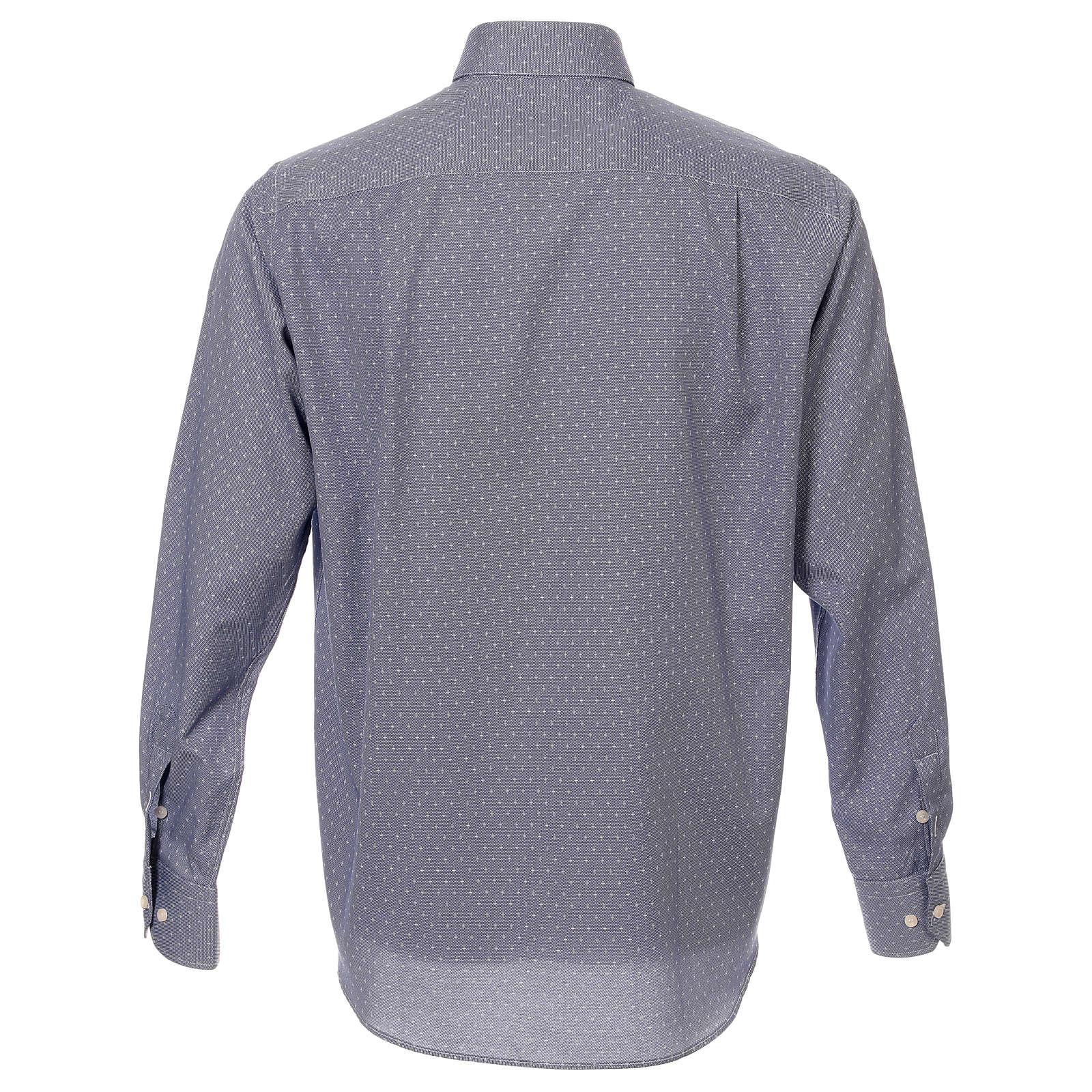 Camicia collo clergy tessuto croci blu M. Lunga 4