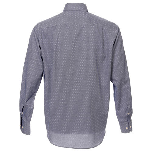 Camicia collo clergy tessuto croci blu M. Lunga 3