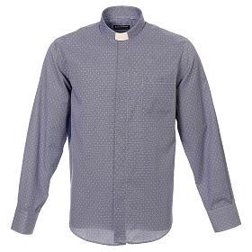 Koszula kapłańska tkanina wzór krzyży, niebieska, Długi Rękaw s1