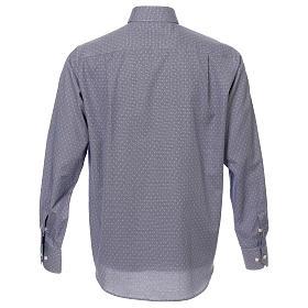 Koszula kapłańska tkanina wzór krzyży, niebieska, Długi Rękaw s3