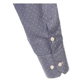 Koszula kapłańska tkanina wzór krzyży, niebieska, Długi Rękaw s4
