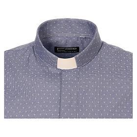 Koszula kapłańska tkanina wzór krzyży, niebieska, Długi Rękaw s5