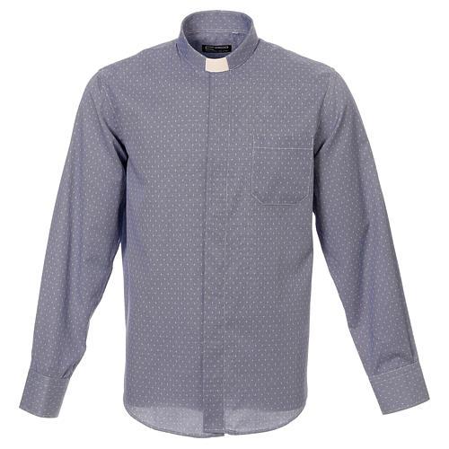 Koszula kapłańska tkanina wzór krzyży, niebieska, Długi Rękaw 1