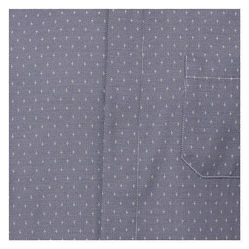 Koszula kapłańska tkanina wzór krzyży, niebieska, Długi Rękaw 2