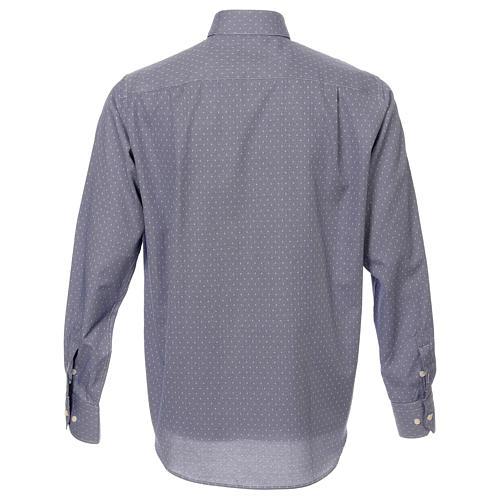 Koszula kapłańska tkanina wzór krzyży, niebieska, Długi Rękaw 3