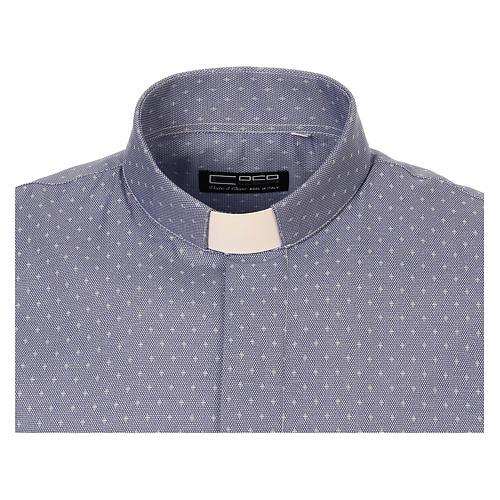 Koszula kapłańska tkanina wzór krzyży, niebieska, Długi Rękaw 5