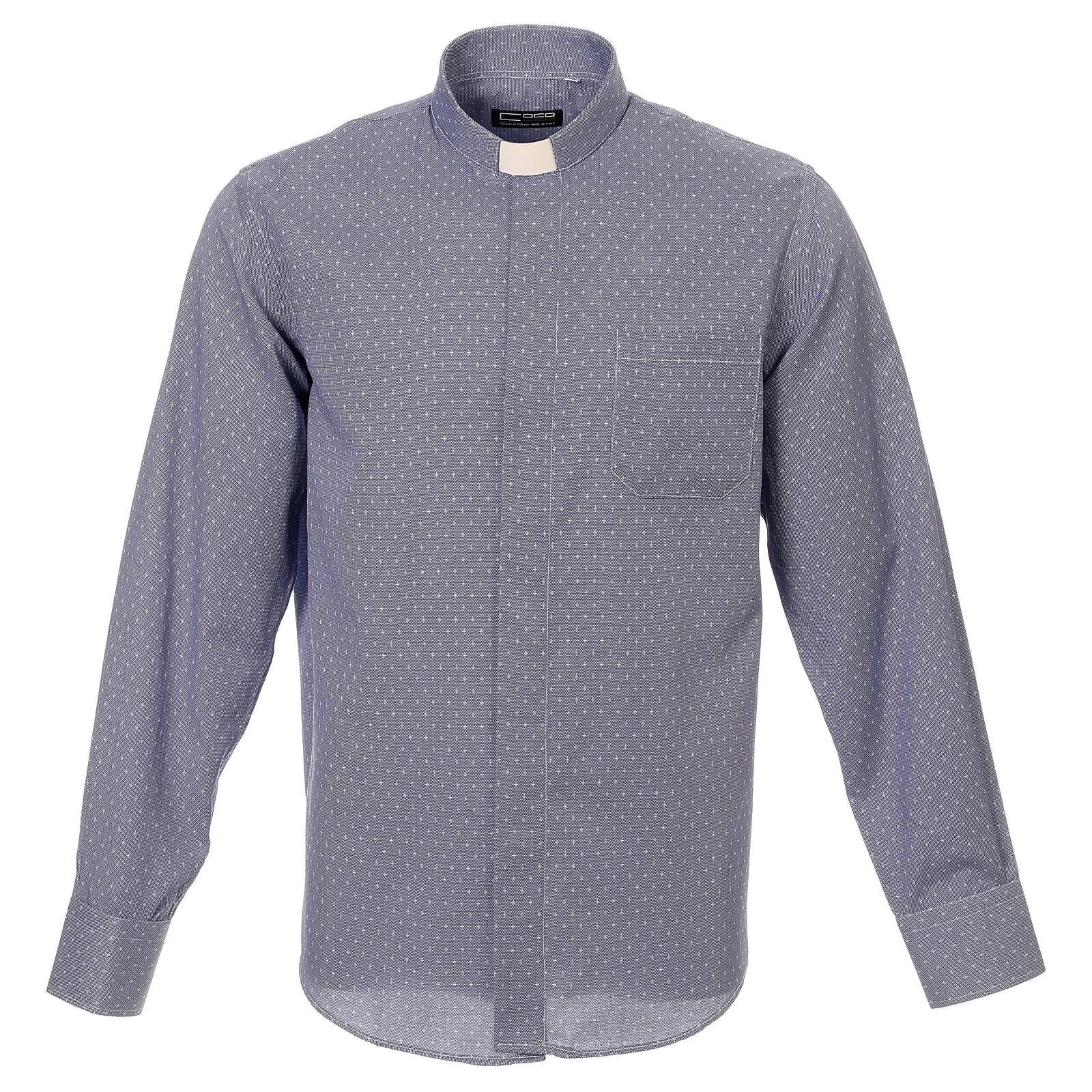 Camisa sacerdote tecido cruzes azul escuro M/L 4