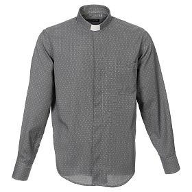 Camicia clergy tessuto croci grigio Manica Lunga s1