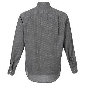 Camicia clergy tessuto croci grigio Manica Lunga s3