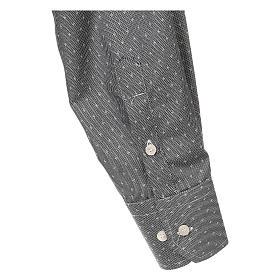 Camicia clergy tessuto croci grigio Manica Lunga s4