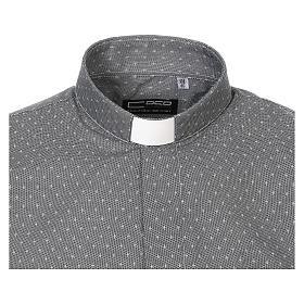 Camicia clergy tessuto croci grigio Manica Lunga s5