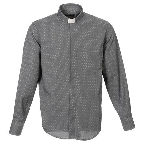 Camicia clergy tessuto croci grigio Manica Lunga 1