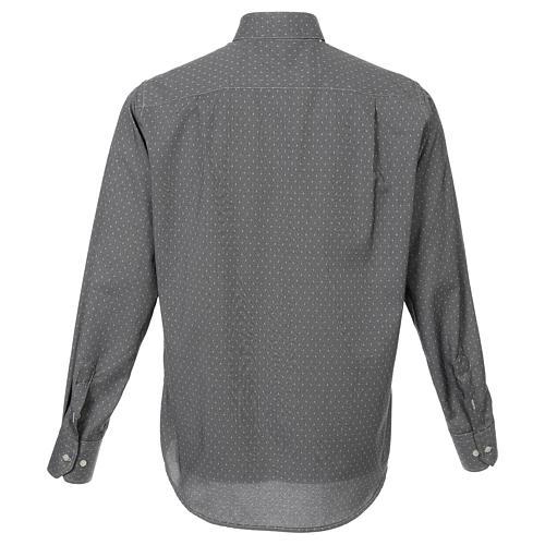 Camicia clergy tessuto croci grigio Manica Lunga 3